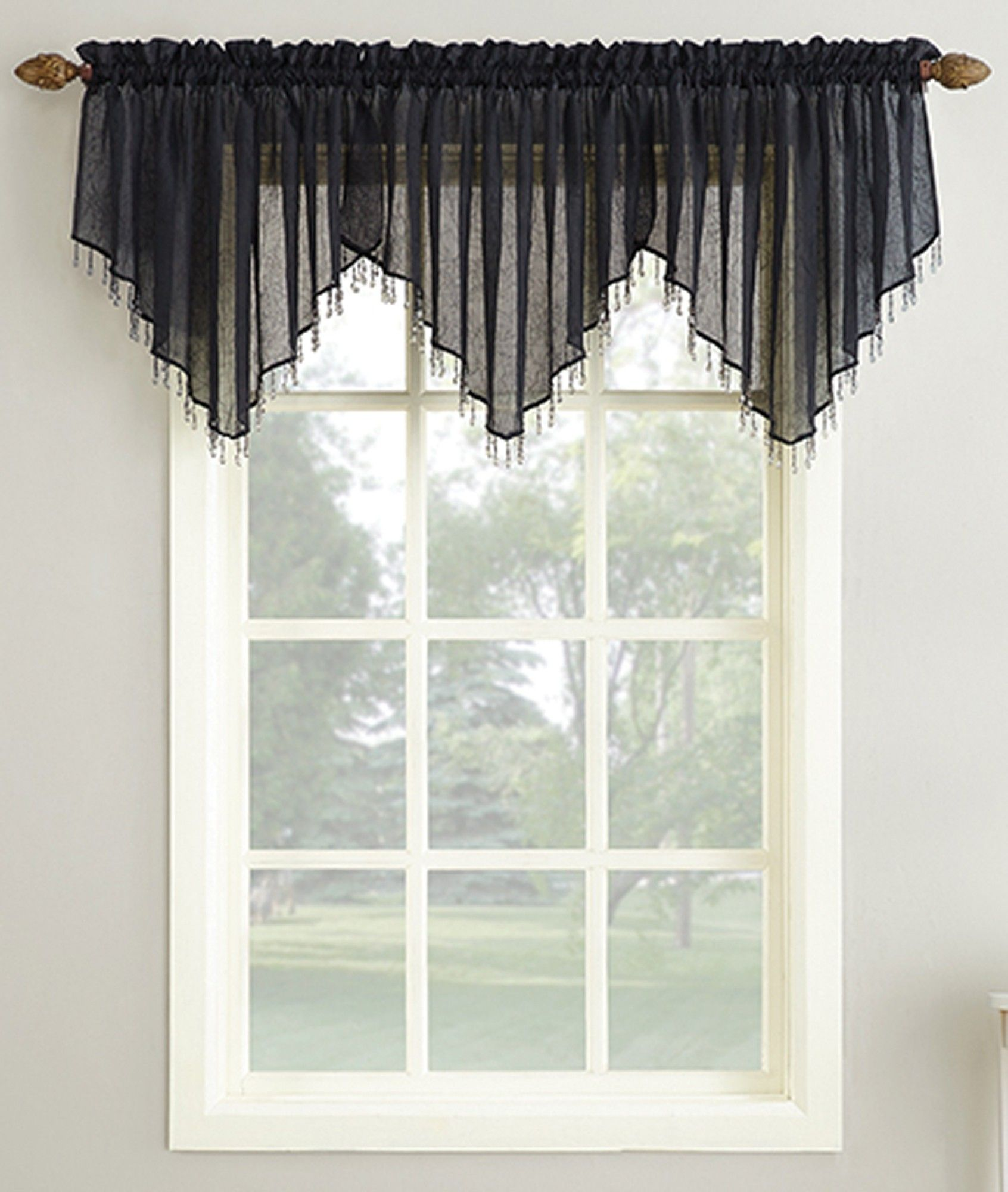 Erica Crushed Voile Rod Pocket Ascot Valance Curtain Valance