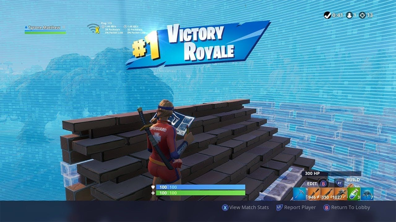 Pro High Ping Player Gets a 13 kill solo win in Fortnite