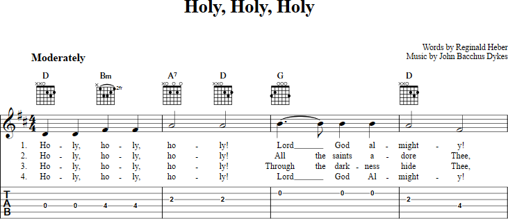 Holy, Holy, Holy sheet music for guitar with chords, lyrics, and tab ...
