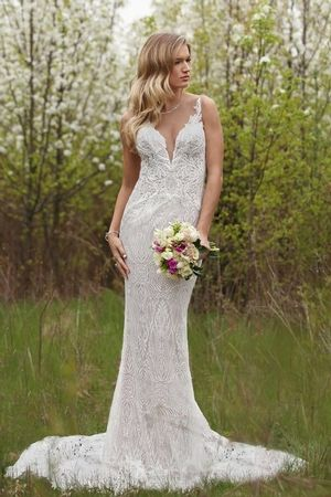 V Neck Sheath Wedding Dress With Natural Waist In Lace Bridal