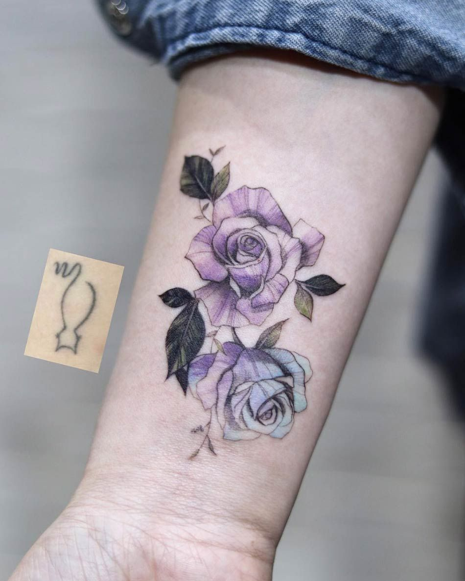 Purple and blue roses by Aeri | Rose tattoos, Pink tattoo ...