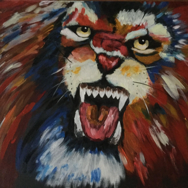 Leeuw Acryl op doek 50x70