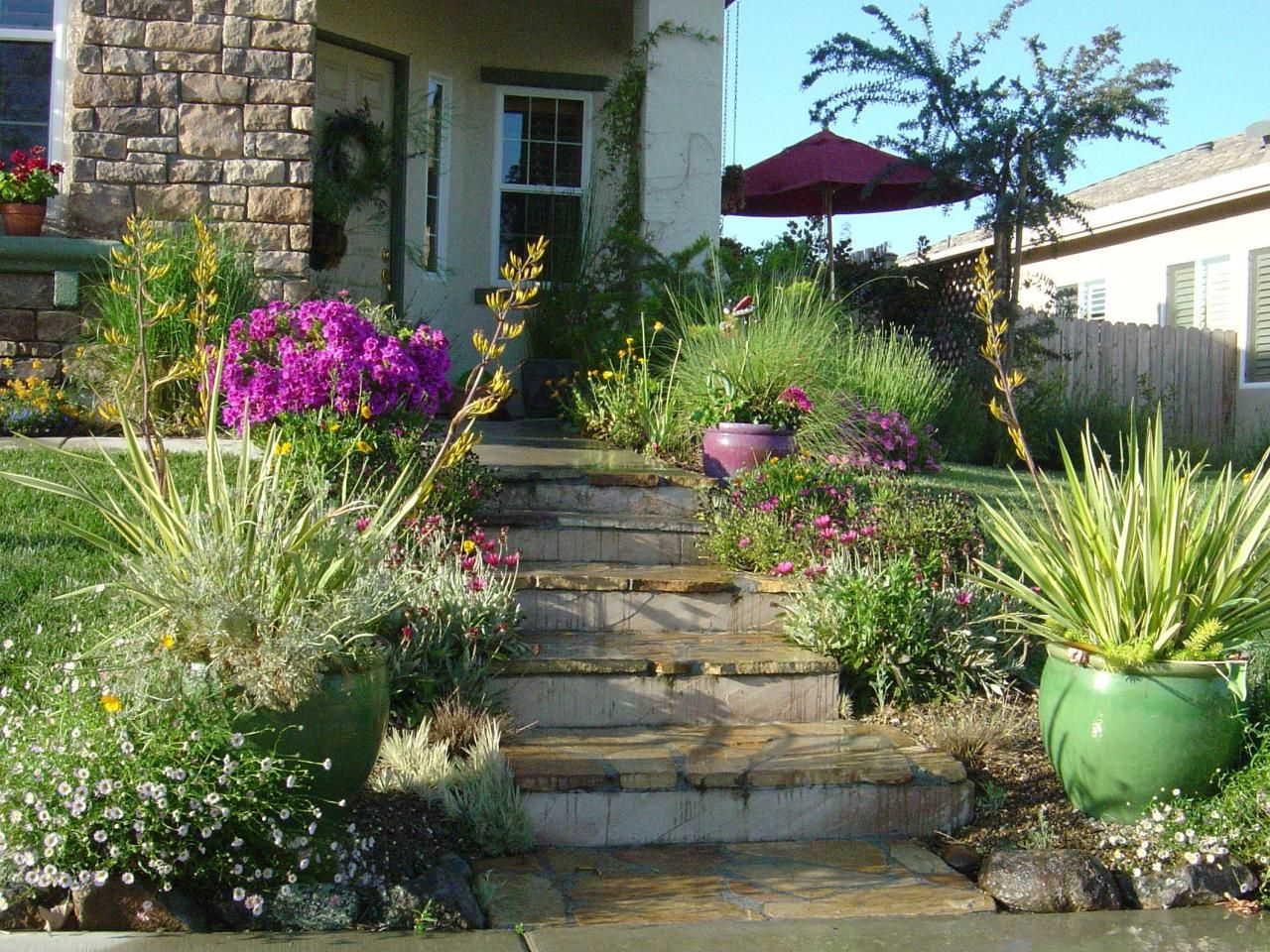 this xeriscaped mediterranean style landscape brings color and
