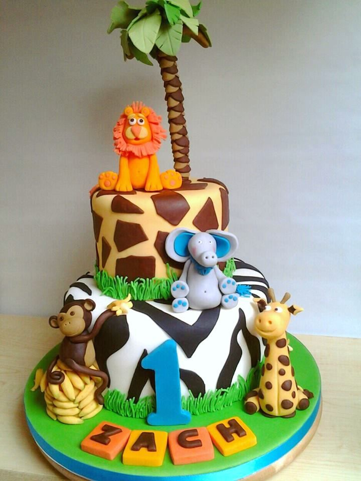 Jungle Theme 1st Birthday Cake Zebra And Giraffe Print Tiers