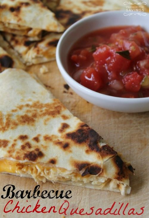 Barbecue Chicken Quesadillas Recipe! Mmm! These are so good!