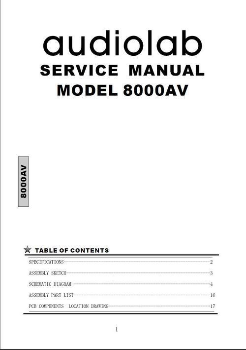 Audiolab 8000AV Original Service Manual in PDF Manual