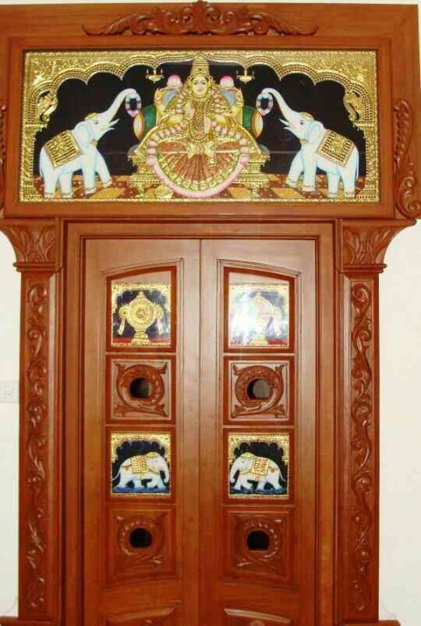 Ashtalakshmi door designs in tanjore paintings for more for Pooja room entrance door designs