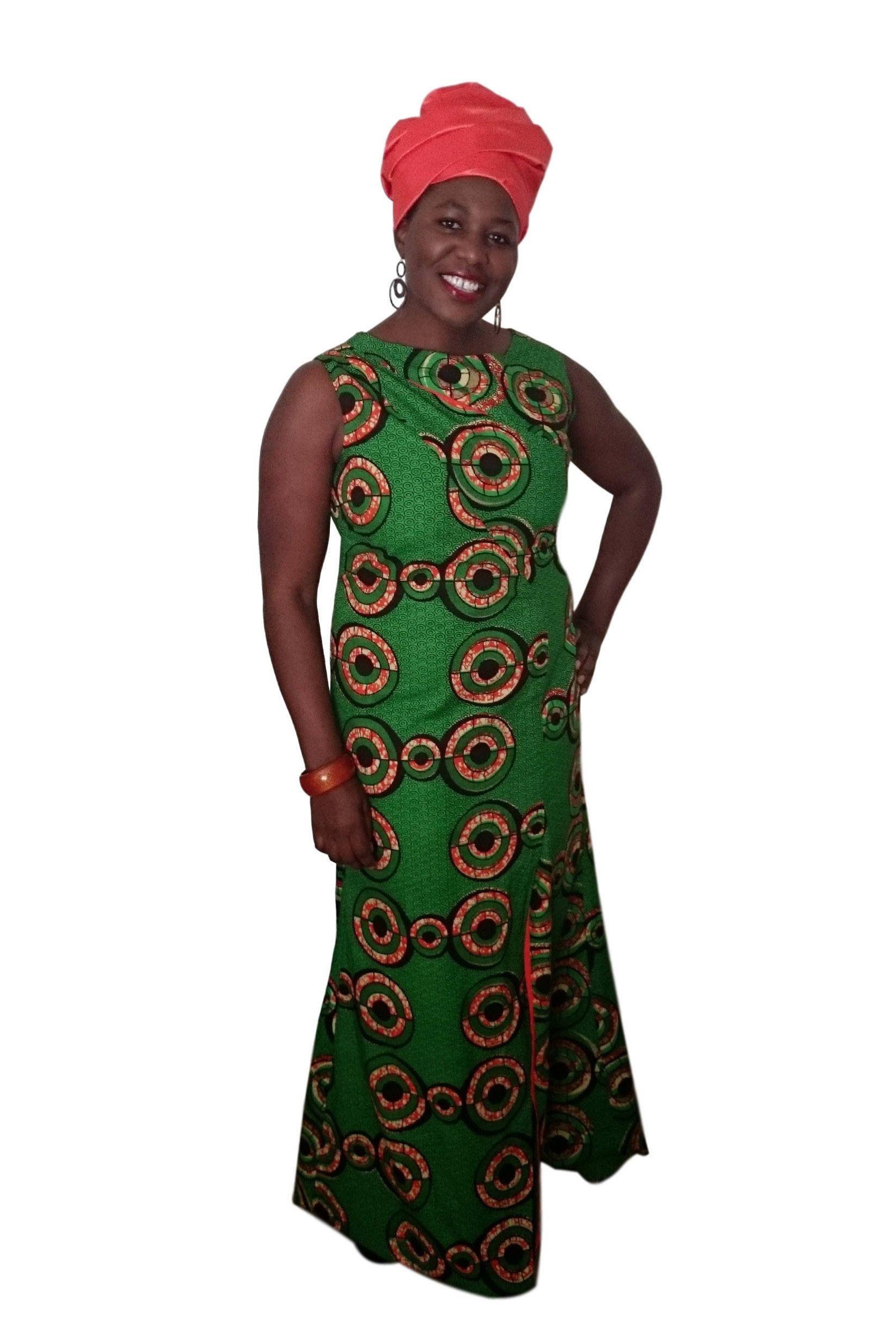 Kuwaha african print long gown dress front slit green black
