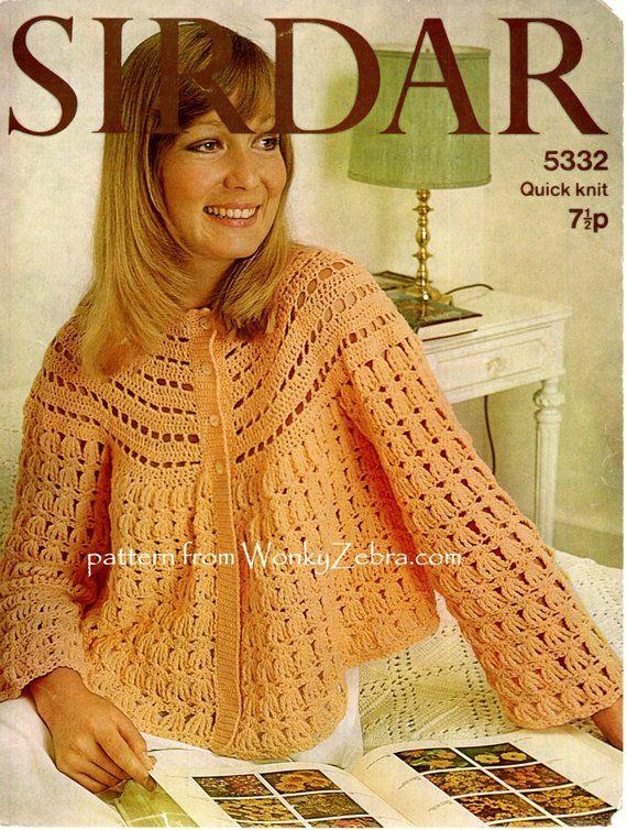 A Vintage Crochet Bedjacket Jacket Pattern Pdf 650 From Wonkyzebra
