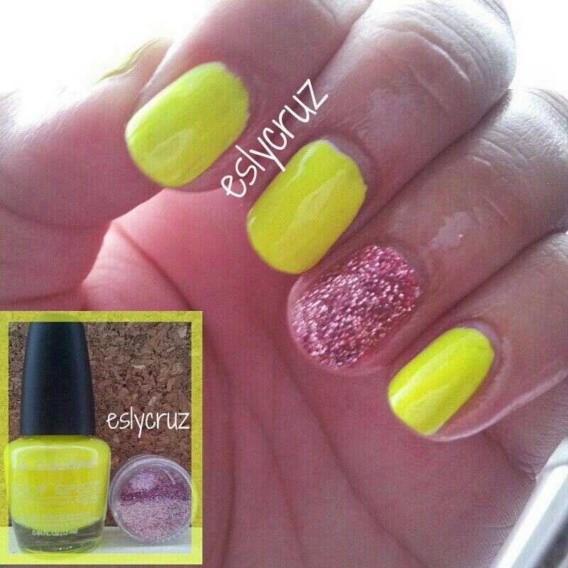 L.A Colors neon yellow nail polish with pink glitter. | My nails ...