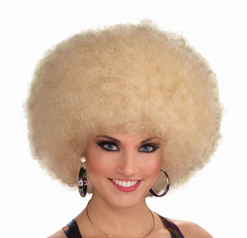 afro wig blonde retro disco halloween costume accessory prop 70s 80s curly new - Halloween Costumes With Blonde Wig