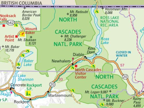 National Parks In Washington State Map.North Cascade National Park On Geonovas Washington State Map The