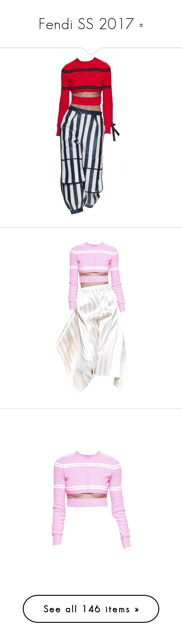 """Fendi SS 2017 ="" by sella103 ❤ liked on Polyvore featuring edit, dresses, tops, fendi, long sleeved, pink long sleeve top, long sleeve tops, pink top, skirts and multicolor"