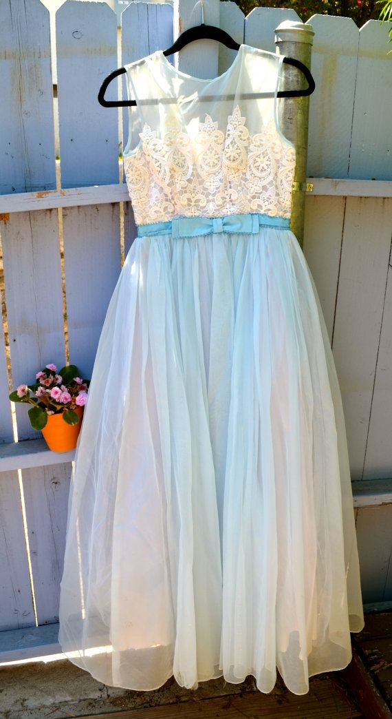 1950s Delicate Blue and White Dress by LetThemEatCakeLA on Etsy, $145.00