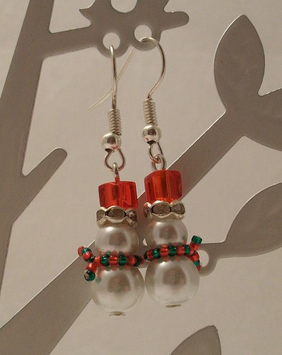 614289b6d9a0d Snowmen Earrings with red Hat and green/red by HoneyBeads1Official ...