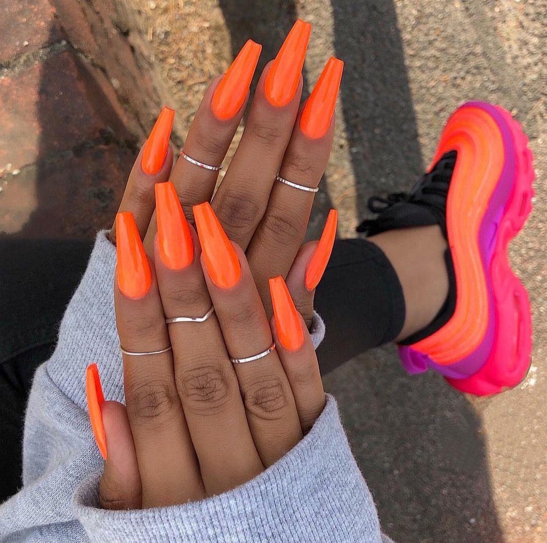 Pinterest Cosmicislander With Images Orange Nails Orange