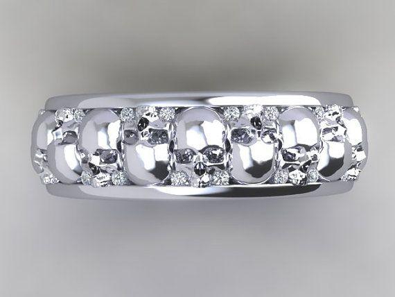 Mens Or Womens Skull Wedding Band Solid 14k Gold Uninc0329 Skull Wedding Ring Skull Wedding Skull Engagement Ring