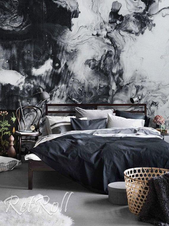 Photo of Black Splash-abnehmbare Tapete, Wandbild, Wand Wandbild, abstrakt, Aquarell, selbstklebend, Peel and Stick, Vintage, pastell, wieder #43