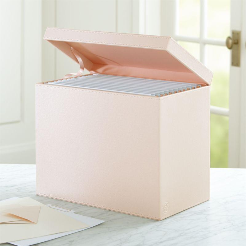 Shop Agency Blush Pale Pink Hanging File Box Slim And Sleek This Blush File Box Lined In Pale Pink Tidies Up Pink Storage Boxes Work Desk Decor Hanging Files
