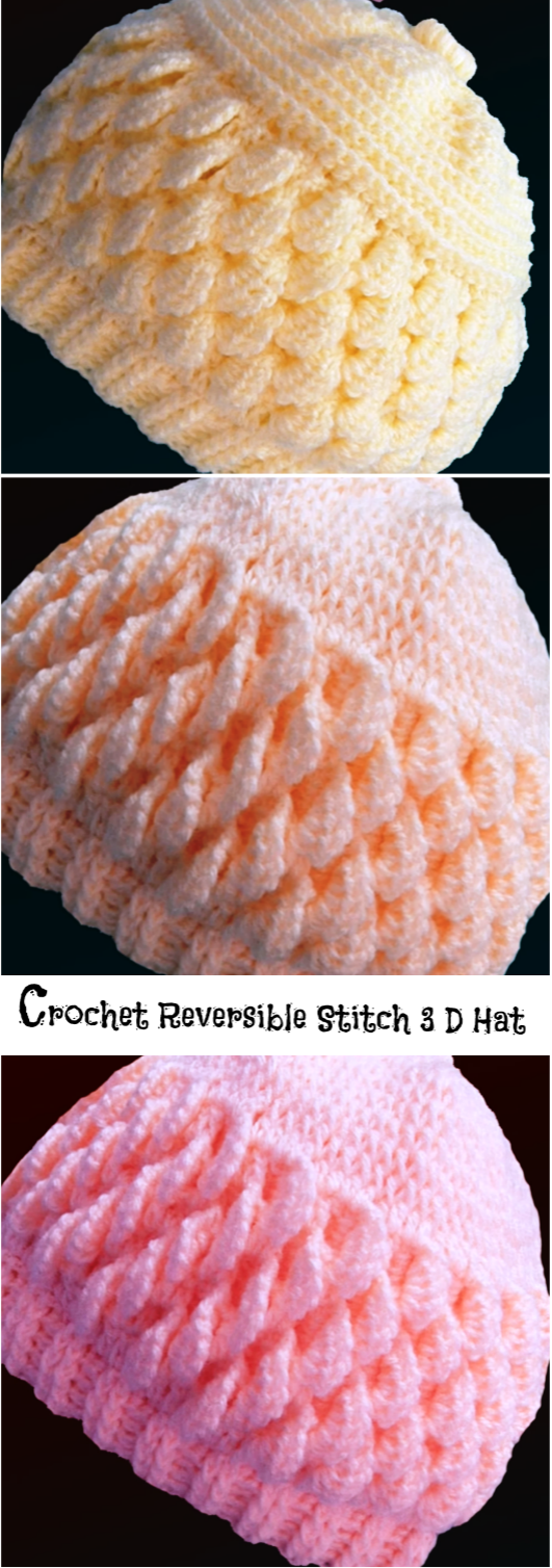 Crochet Reversible Stitch 3 D Hat #crochethats
