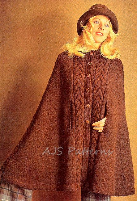 Pdf Knitting Pattern Ladies Retro Cape In Aran Or Dk Wool