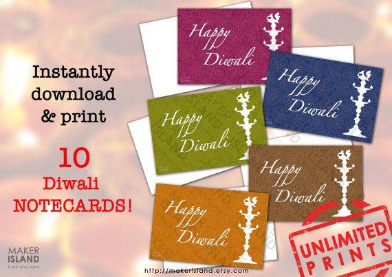 10 Printable Happy Diwali Note Cards Gift Tags By Makerisland On Etsy Lamp Dia Diya Motif Floral Pattern 5 Colou Note Card Gifts Gift Tag Cards Note Cards