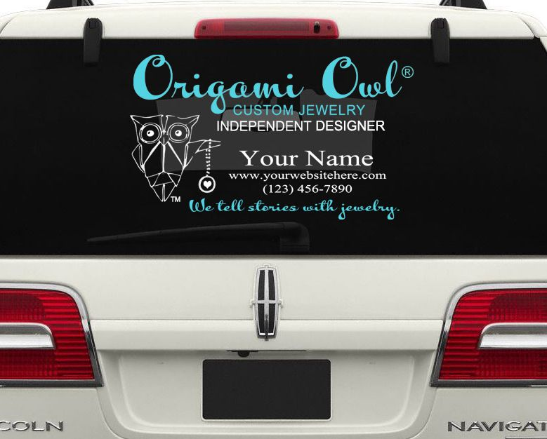 CAR PACKAGE Origami Owl Decals Personalized Name Advertising - Owl custom vinyl decals for car