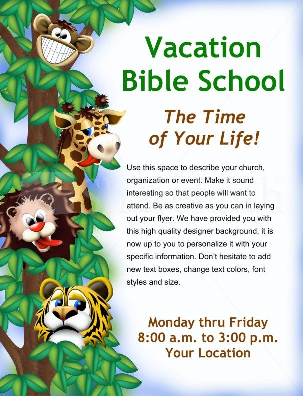 Vacation Bible School Flyer Cool School Flyers Vacation bible