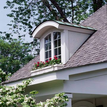 Arched Shed Dormer Window With Copper The First Inclination May Be To Cover A New Dormer Top With Shingles Used El Window Styles House Exterior Dormer Windows