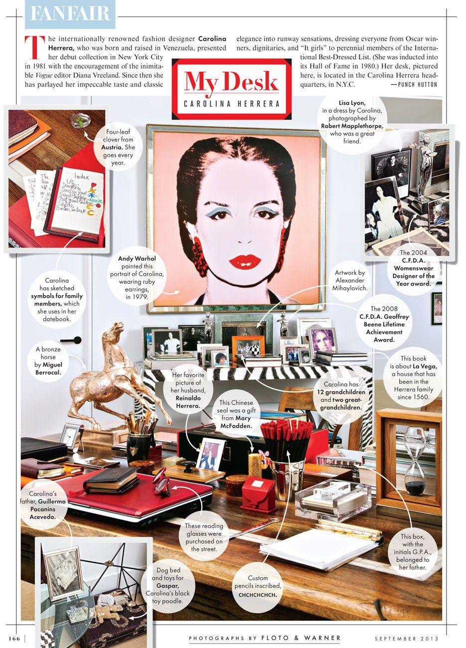 The desk of fashion designer Carolina Herrera.