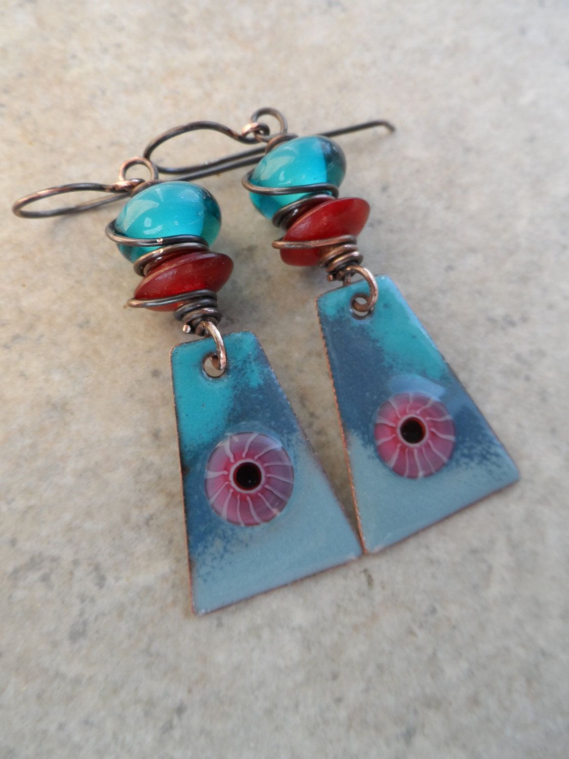 Eye in the Sky ... Artisan-Made Enameled Copper, Lampwork, Horn and ...