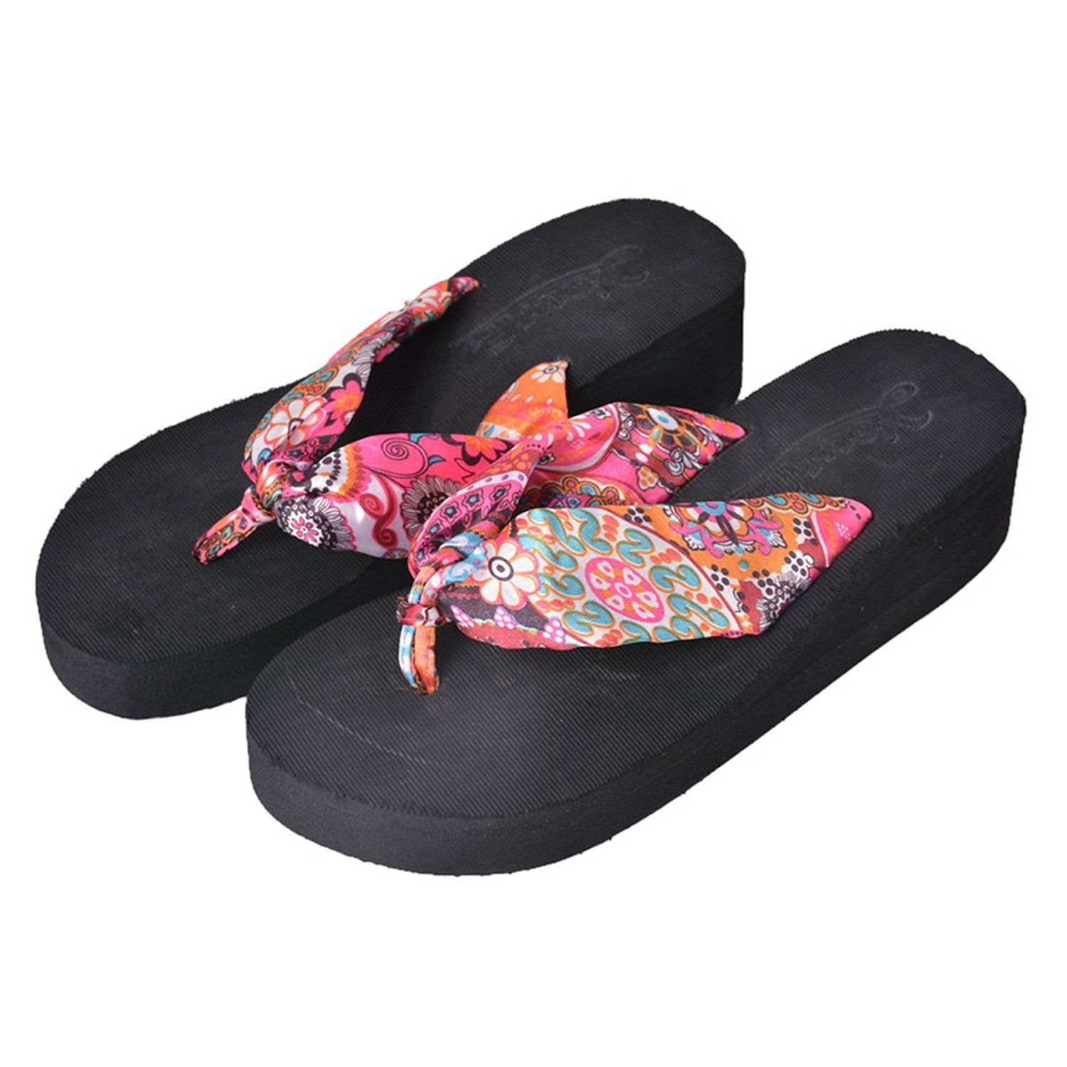 Vertvie Woman Slippers Sandals Summer Floral Bohemian Beach Strap Platform Flower Sandals -- Be sure to check out this awesome product.