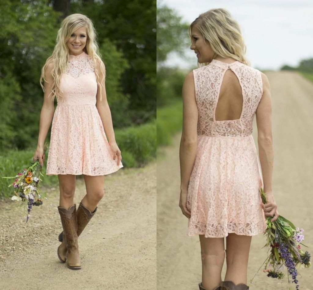 2016 high neck pink lace short bridesmaid dresses cheap for Country wedding dresses cheap