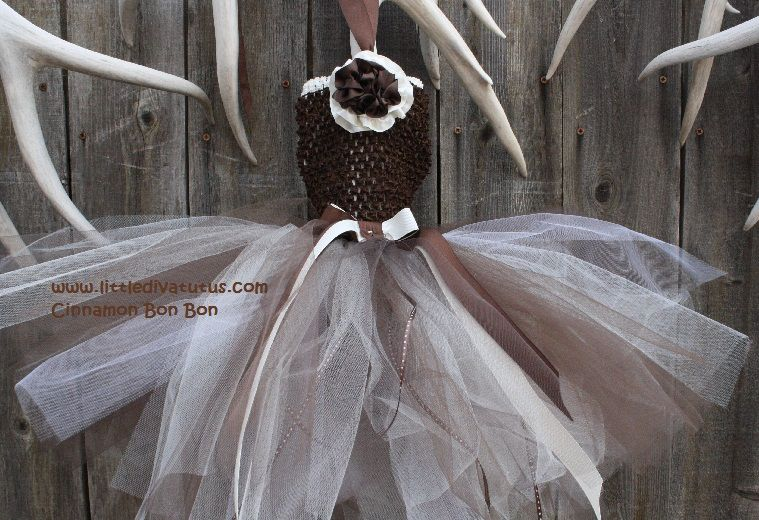 Who doesn't love a little Cinnamon? This pretty, earth toned brown and ivory tutu dress reminds me of Grandma's Cinnamon rolls. Indulge yourself. Perfect for weddings. Only at Little Diva Tutus.com