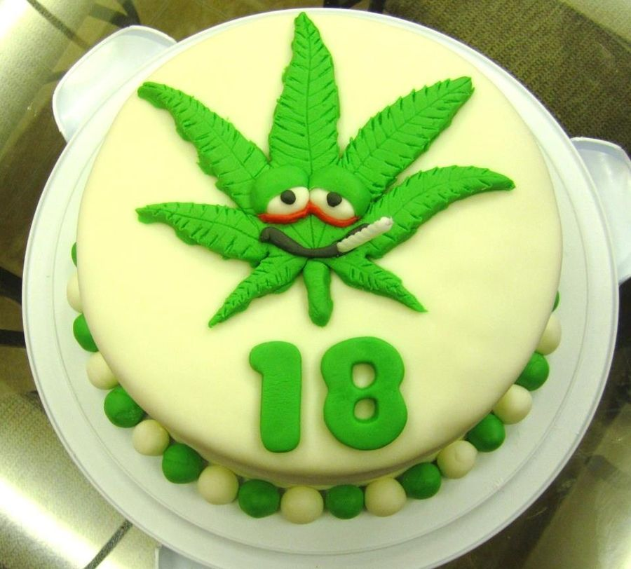 Fondant 9 round cake with Marijuana leaf on top for an 18th