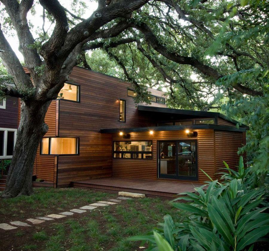 Casa container com fachada de madeira Habitacional Pinterest