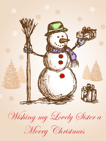 Classic Snowman Merry Christmas Card For Sister Birthday Greeting Cards By Davia Popular Christmas Cards Merry Christmas Funny Snowman Christmas Cards