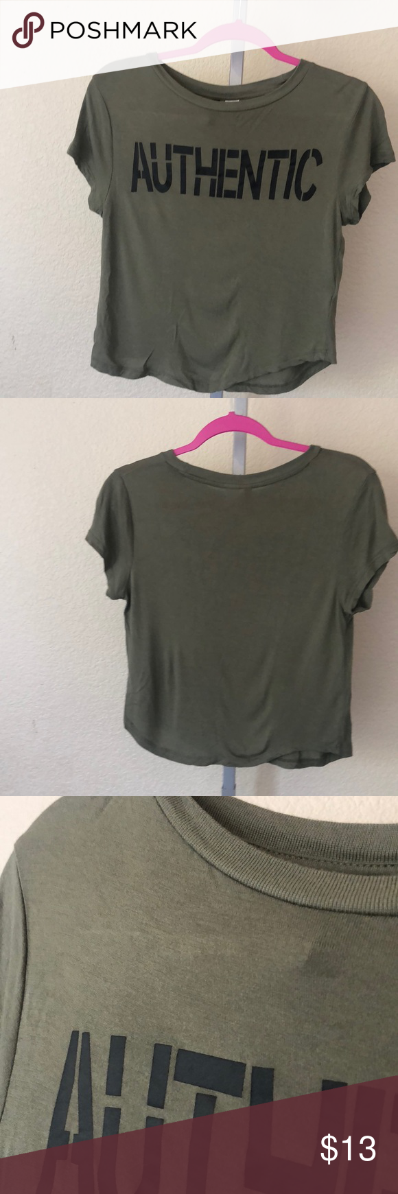 "a5c807295e8292 Divided By H M Crop T-Shirt Army green ""authentic "" H M CropTop  👇🏻👇🏻👇🏻👇🏻👇🏻👇🏻 Measurements Length  16"" Bust 30"