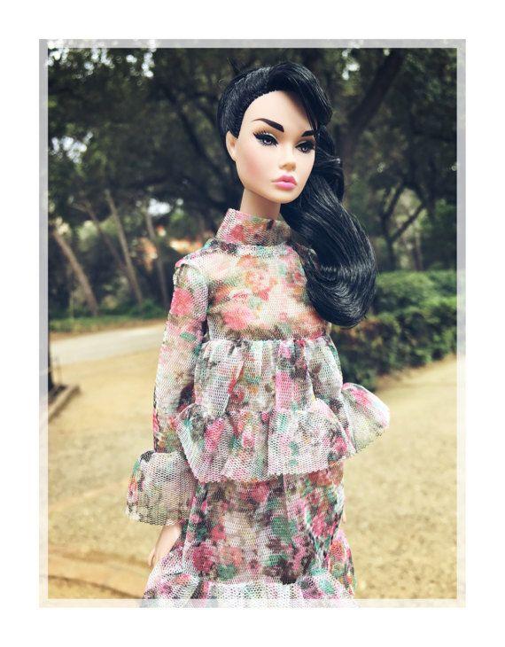 Flower tul flower printed dress with ruffles for Barbie / poppy parker / 1:6 / blythe