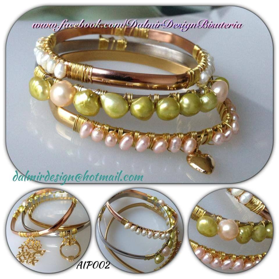 Fin de semana en acero inoxidable tejidas con perla de - Bano de oro precio ...