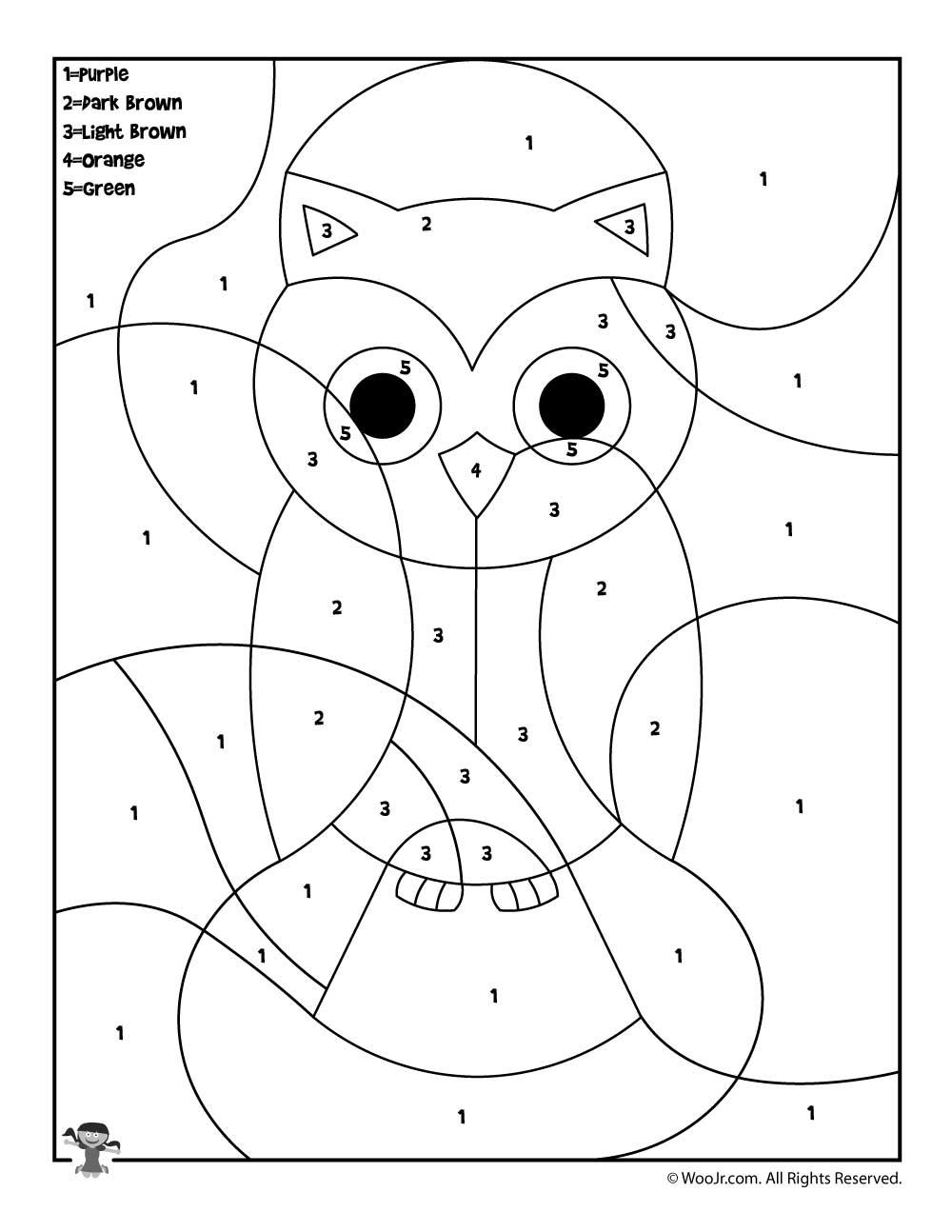 Owl Color By Number Woo Jr Kids Activities Owl Coloring Pages Owl Kids Animal Coloring Pages