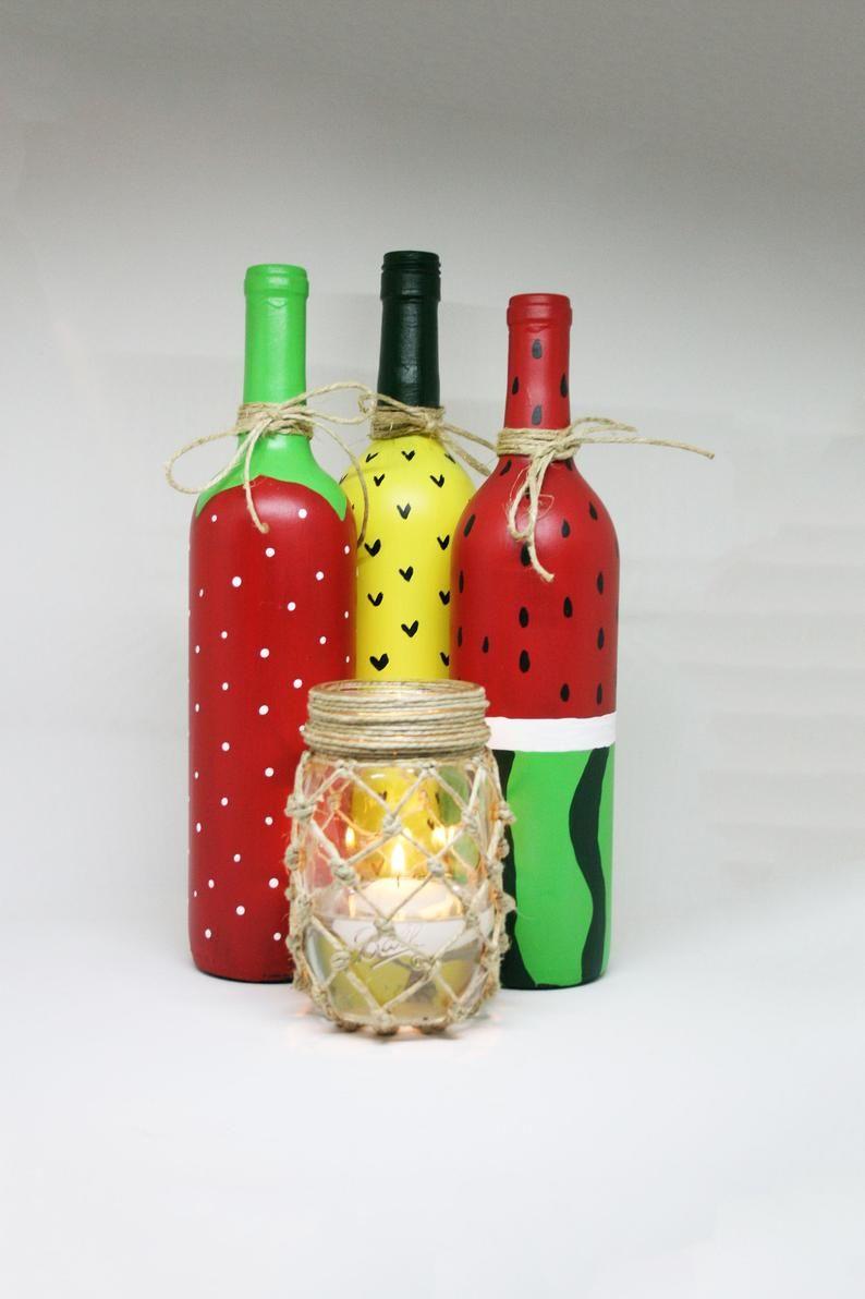 Strawberry Wine Bottle Bbq Decorations Flower Vase In 2020 Wine Bottle Glass Bottle Diy Bottle Crafts