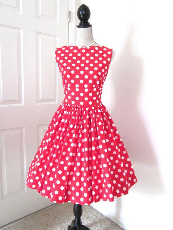 1960s Style Dress - Retro Polka Dot Dress - Audrey Hepburn Dress ...