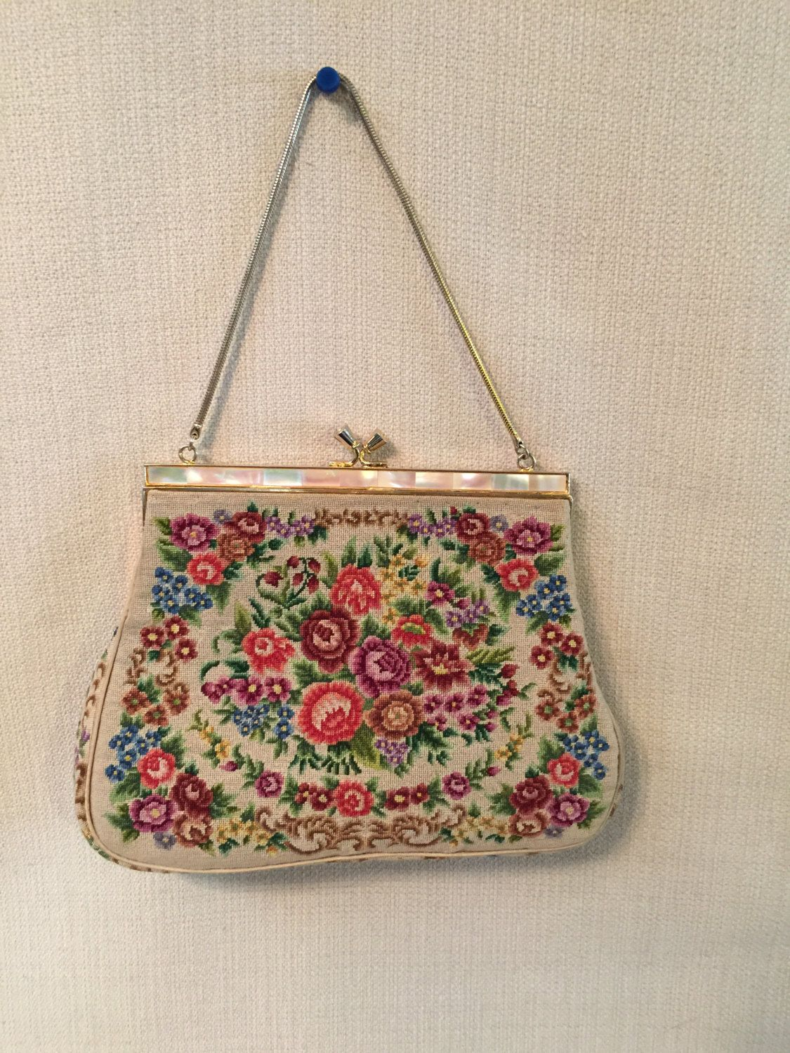 Vintage Petit Point Embroidered Floral Purse Handbag Mother of Pearl & Gold Tone Frame **Free USA Shipping** by TimeGoneByVintage on Etsy