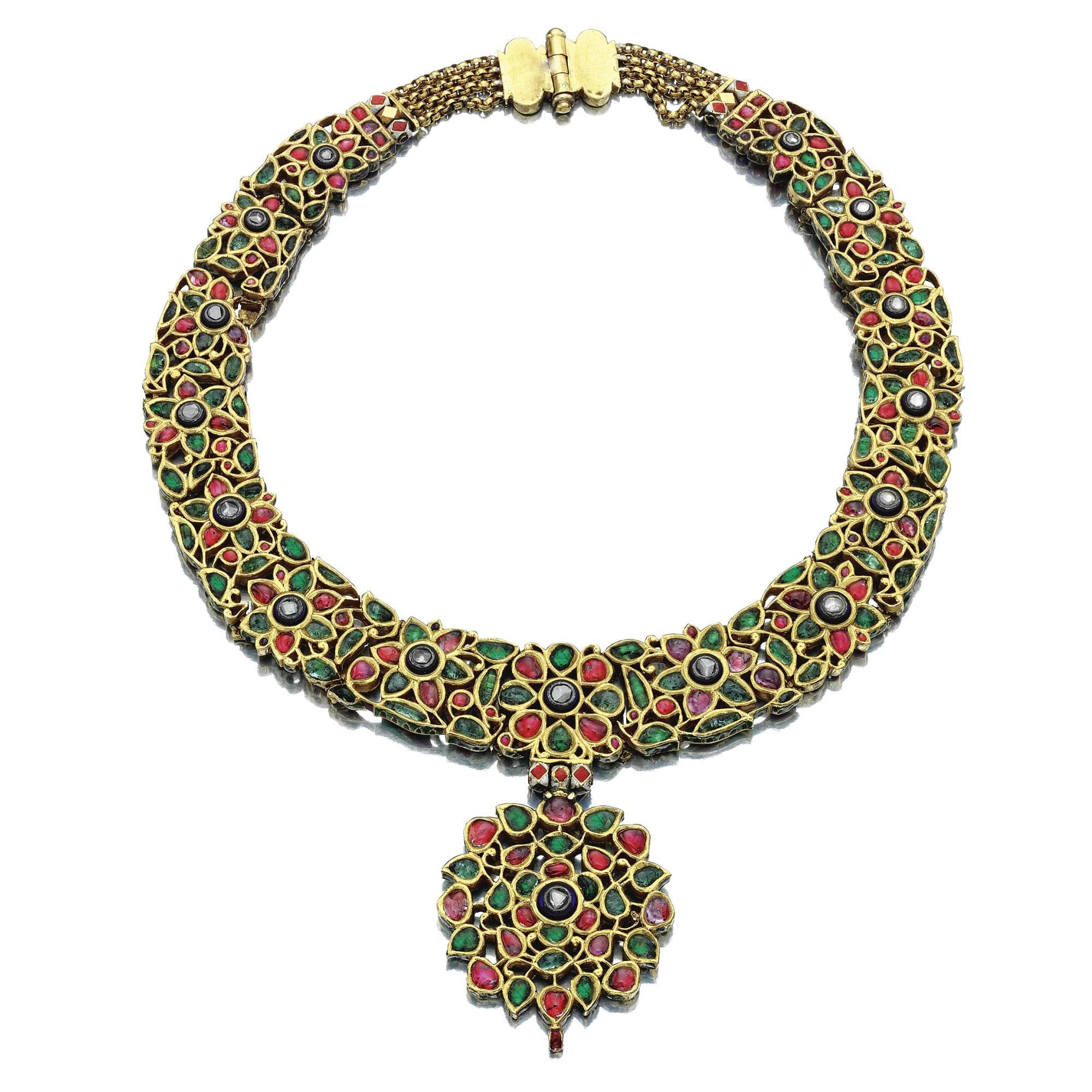 Ruby emerald enamel and diamond necklace india th century