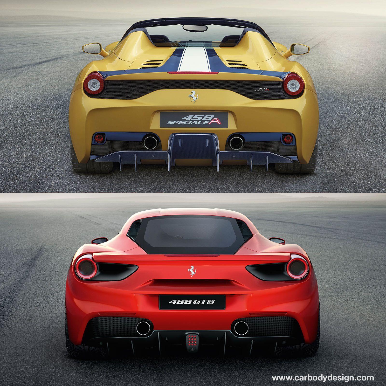 Ferrari 458 Speciale A And 488 Gtb Design Comparison Rear End Ferrari 458 Speciale Ferrari 458 Ferrari