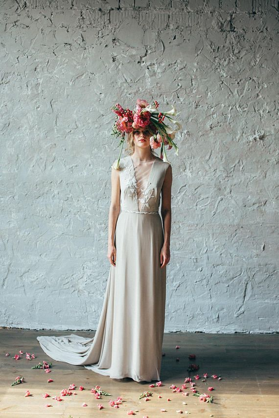 Simple silk wedding dress // Camille/ Open back bridal gown, V ...