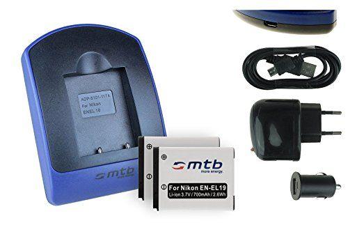 2 Akkus + Ladegerät (Netz+Kfz+USB) EN-EL19 für Nikon Coolpix A100 A300 S33 S100 S3700 S5300 S6900 S7000... - s. Liste - http://kameras-kaufen.de/mtb-more-energy/2-akkus-ladegeraet-netz-kfz-usb-en-el19-fuer-nikon-s