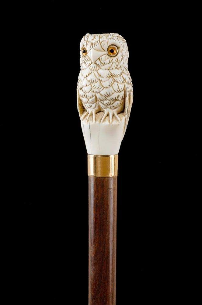 Walking stick with owl shaped grip england th century