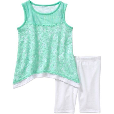 Healthtex Baby Toddler Girl Lace Sequin Tunic and Leggings Outfit Set, Green